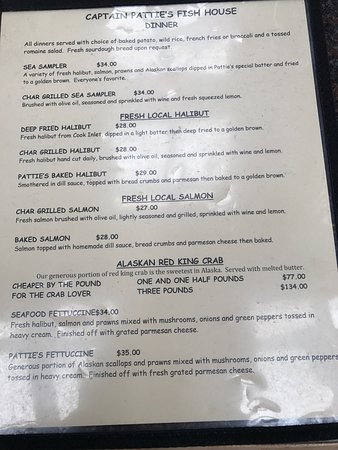 Captain patties fish house homer menu prices for The fish house menu