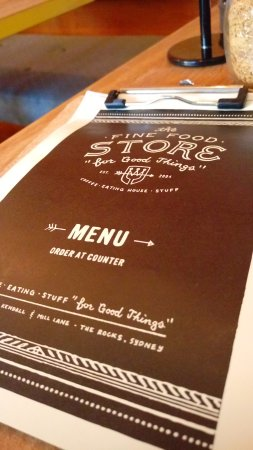 The Fine Food Store: The menu