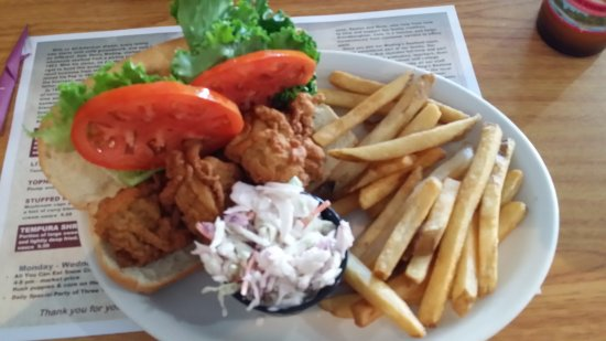 Milford, DE: My oyster sandwich plate with fries and slaw