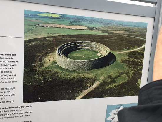 Grianan of Aileach aerial view of ring fort info poster on site