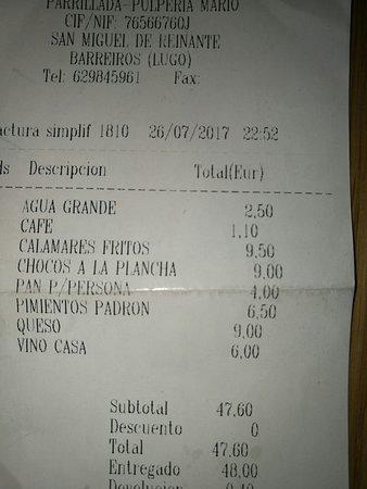San Cosme de Barreiros, España: buen precio , para buen pulpo. 4 personas