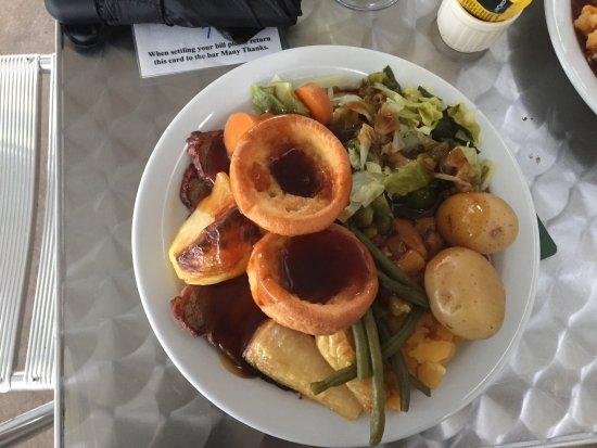 Alvechurch, UK: Gluten Free Sunday roast with GF Yorkshire pud, 7 veg and GF gravy. Best value ever at Weighbrid