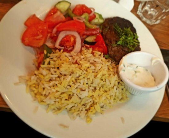 Lamb Kefte With Saffron Rice And Greek Salad Picture Of The Real Greek Spitalfields London Tripadvisor