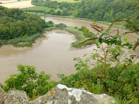 Chepstow, UK: Looking from the quarry towards the reserve and chapel on the banks of the River Wye (top)