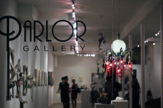 Front window of Parlor Gallery