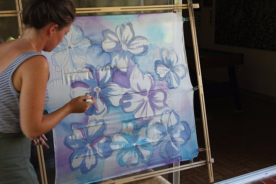 Grasse, France : The start of a handpainted silk scarf masterpiece