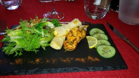 Astaffort, France : Brochette de crevettes.