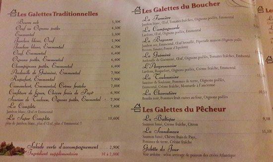 Crêperie La Galettière : Menu