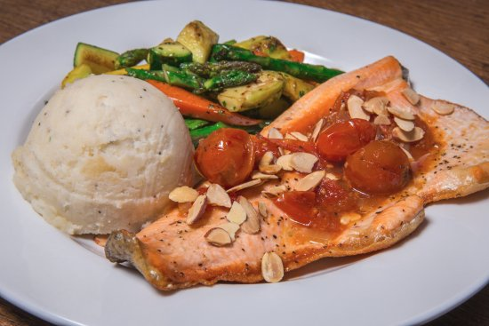Sisters, OR: house favorite boneless trout with garlic mashed potatoes and veggies