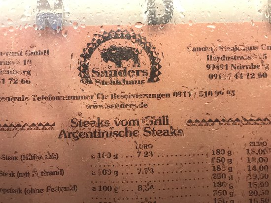 Sanders Nürnberg sanders steakhaus nürnberg laengenstr 10 restaurant bewertungen telefonnummer fotos