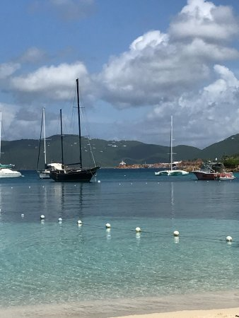 Water Island, St. Thomas: My seat at Dinghy's end of Aug. 2017