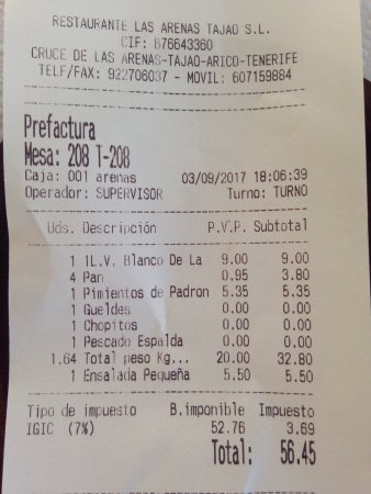 Arico, Spain: We get just only 2 breads, but receive bill for 4 of it. Check you bill and better go few hundre