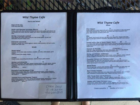 Wild Thyme Cafe Kanab Ut Menu