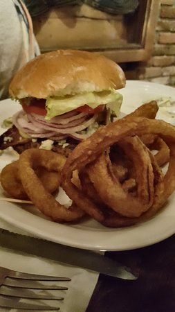 Marysville, CA: Bacon Blue Burger with Onion Rings