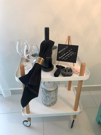 Boutique Hotel Glaros: We were greeted by a bottle of wine for our anniversary! Thank you!