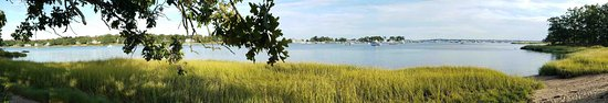 Rye, NY: Panorama of the Marshlands Conservancy, looking out over Milton Harbor