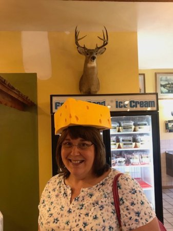 DeForest, WI : I had to try on a cheese head!