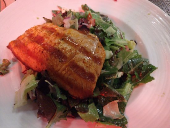 Los Alamitos, CA: Grilled salmon over a Greek salad!
