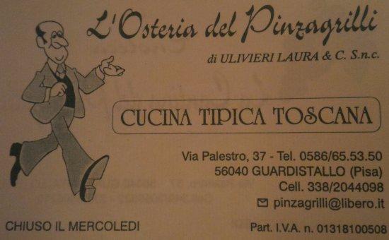Biglietto Da Visita Osteria Del Pinzagrilli Picture Of L