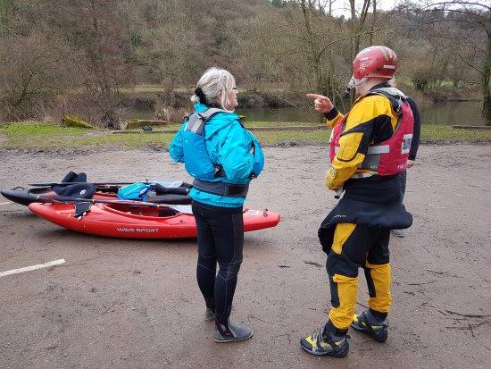 Some kayak instruction.