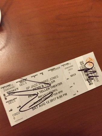Penn & Teller: signed ticket