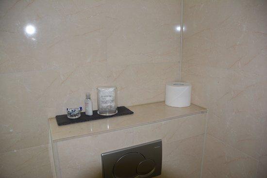 Hotel Sint Nicolaas: Gorro de ducha, acondicionador de pelo