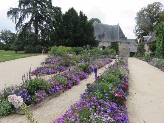 Chaumont-sur-Loire, France: blue and purple flower beds