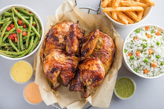 Whole Chicken with French Fries, Cilantro Infused Rice and Green ...