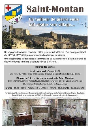 Un tailleur de pierre vous fait visiter son village: L'affiche officielle, horaires hors saison  à partir du 1er septembre jusqu'au 30 juin.