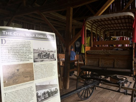 Keedysville, MD: The civil war ambulance exhibit in the shed - Pry House Field Hospital Museum