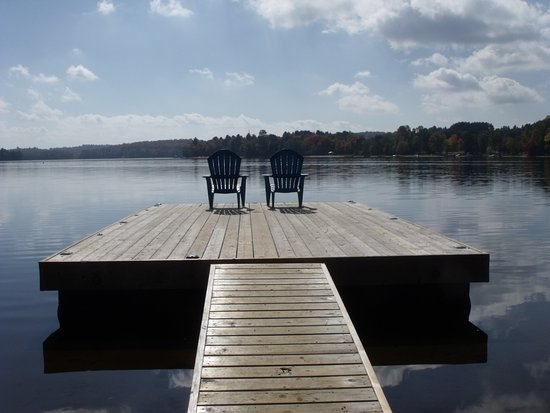 view from the dock of oxtongue lake