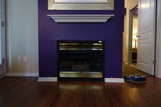 Times Square Suites Hotel: A real fireplace!