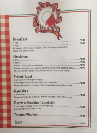 Rosalie's Breakfast Menu - Iroquois Falls ON