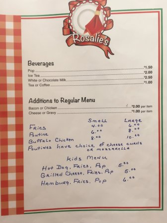 Rosalie's Beverages & Miscellaneous Menu - Iroquois Falls, ON