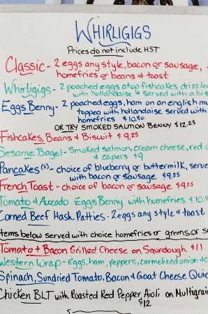 Wallace, Canada: Breakfast menu today. Not sure it is changes or not