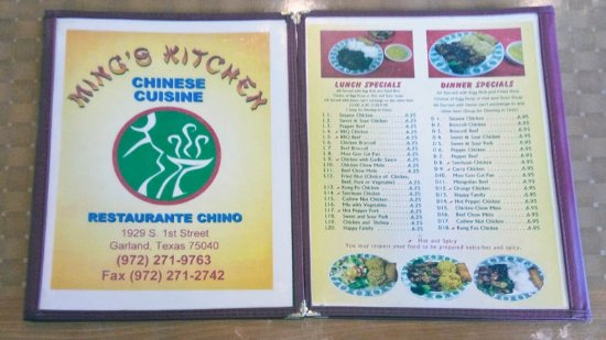 menu - Picture of Mings Kitchen Chinese Restaurant, Garland ...