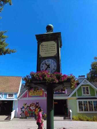 Story Land: Beautiful clock at the front enterance