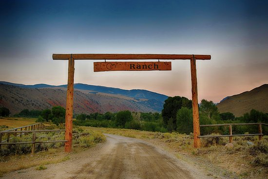 Dubois, WY: Entry into the CM ranch at sunrise