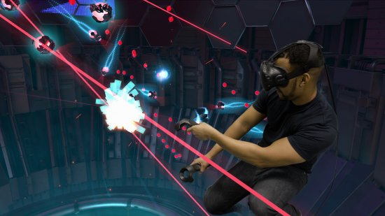 SunriverVR: The Lab, Xortex, Like astroids, but your hand is the ship!