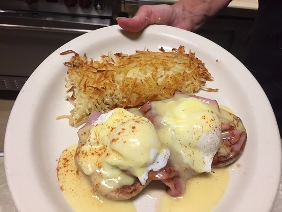 Rainbow Cafe: Sunday Morning Special Eggs Benedict with Hash Browns