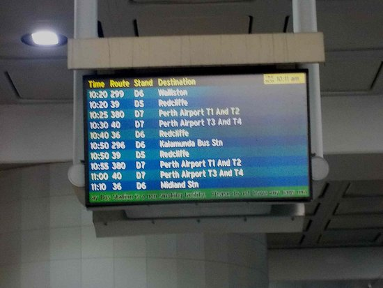 Timetable at perth airport for bus 380 picture of for Bus timetable perth 85