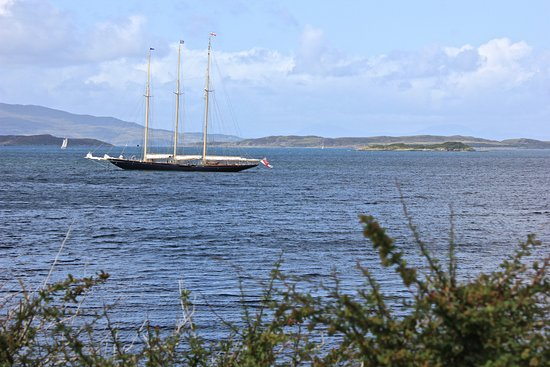 Crinan, UK: the view out to sea, Jura and Scarba