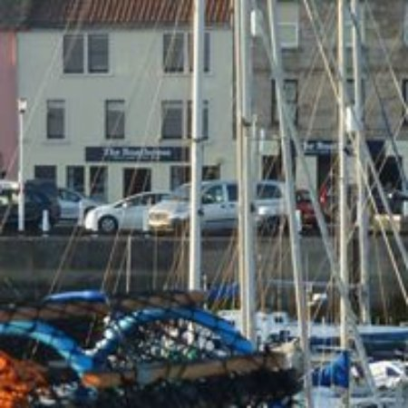 The view of the Anstruther Boathouse from the shore
