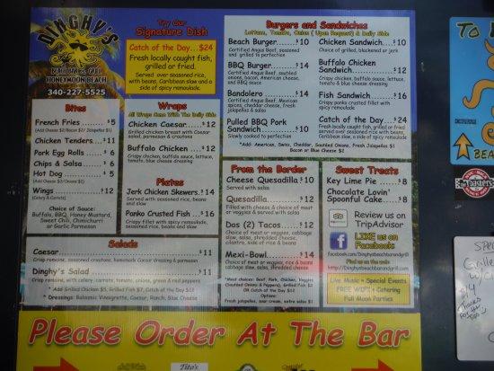 food menu at Dinghy's Honeymoon Beach, Water Island