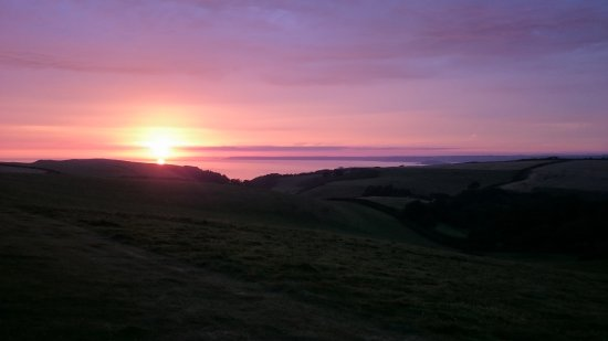 Kingsbridge, UK: View from my tent at Karrageen Camp Site (top field)