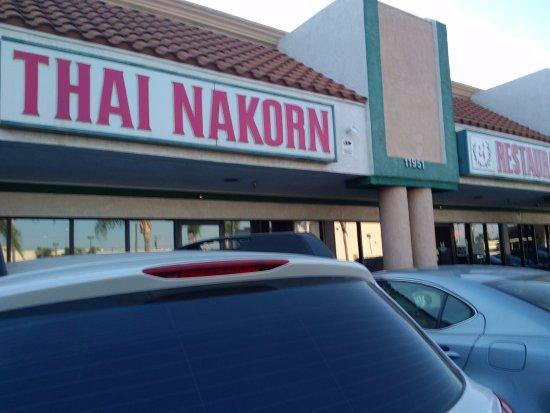Signage for Thai Nakorn restaurant in Stanton, CA