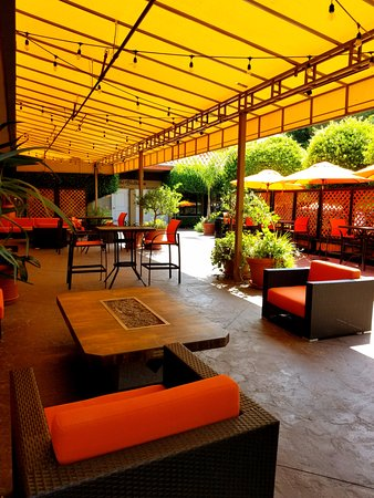 Palm Garden Hotel: Our Patio Offers Shade To Relax Under, Or Fire Pits To