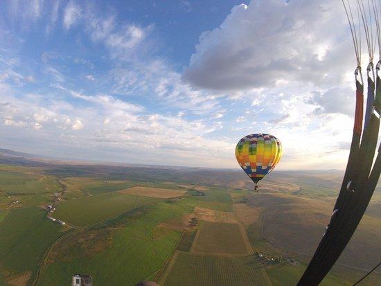 Bigfoot Balloons: Bigfoot balloon above the valley.