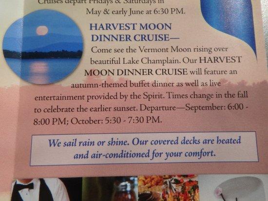 "Spirit of Ethan Allen : ""We Sail Rain Or Shine"" listing in brochure"