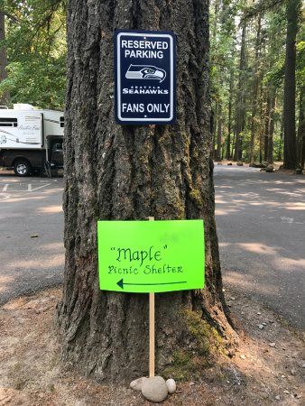 Battle Ground, WA: The Maple Shelter is one of 13 picnic shelters that you can reserve. Go Seahawks!